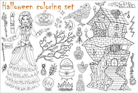 Halloween coloring set with beautiful witch girl in steampunk dress, crow and scary house on white. Hand drawn vector illustration for coloring. Doodle black and white clip art collection Иллюстрация