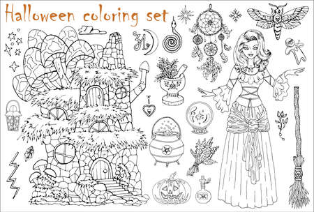 Halloween coloring set with beautiful witch girl, house, moth, broom and dreamcatcher isolated on white. Hand drawn vector illustration for coloring. Doodle black and white clip art collection