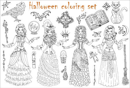 Halloween coloring set with beautiful witch girls in gipsy, medieval and steampunk costumes, scary witchcraft objects. Hand drawn vector illustration for coloring. Doodle clip art collection