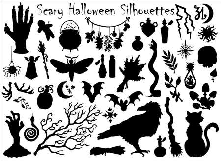 Halloween set with traditional scary silhouettes of crow, pumpkin, cat and others. Hand drawn vector illustration