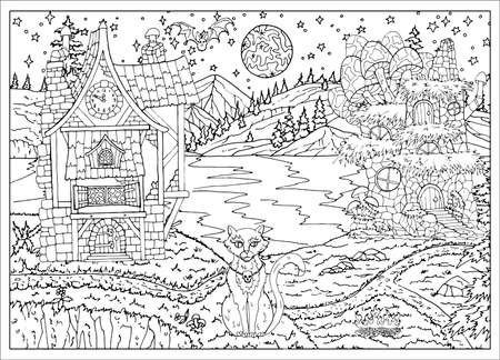 Halloween scene with witch houses and cat sitting on lake shore at night.  Hand drawn vector illustration for coloring page and book. Black and white drawing of mystic landscape and scary objects