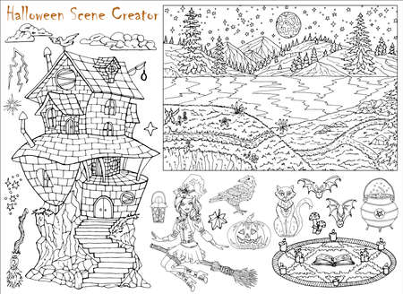 Halloween scene creator with witch girl flying on broom, spooky house and animals. Hand drawn vector illustration for coloring page. Black and white drawing of mystic landscape and scary objects