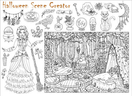 Halloween scene creator set with beautiful witch girl and place in the forest.  Hand drawn vector illustration for coloring page and book. Black and white drawing of mystic landscape and scary objects
