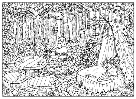 Mystic forest landscape with table, bed and throne on the glade, fantasy Halloween concept, witch place. Hand drawn vector illustration for coloring page and book. Black and white drawing