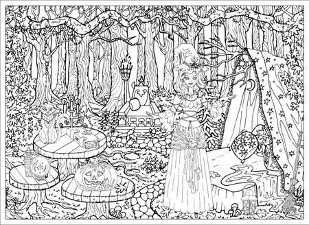 Beautiful witch girl with mystic animals at her house in the forest outdoors. Hand drawn vector illustration for coloring page and book. Black and white drawing of landscape and scary objects