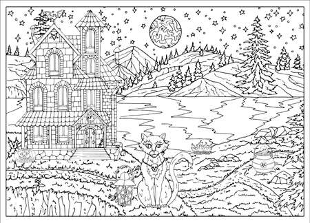 Halloween spooky scene with house, cat, lake, trees at night with full moon. Hand drawn vector illustration for coloring page and book. Black and white drawing of mystic landscape and scary objects Иллюстрация