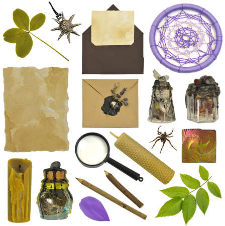 Design set with magic witch bottles, four-leaf clover, candle and hand crafted envelopes. Mystic Halloween concept. Collection of vintage objects isolated on white background Zdjęcie Seryjne
