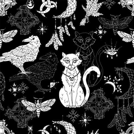 Seamless pattern with mystic animals - cat, crow and moth, dreamcatcher and witch magic objects. Mystic background for Halloween, esoteric, gothic and occult concept Ilustracja