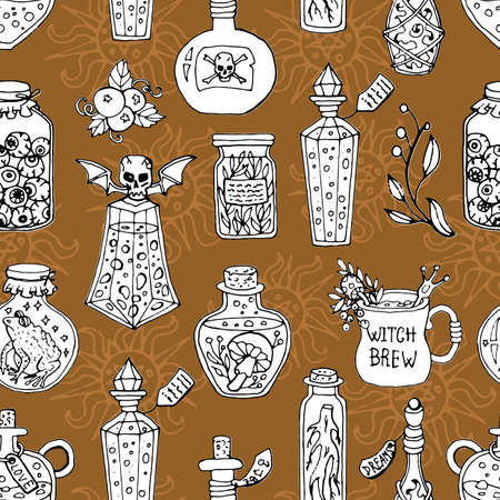Seamless pattern with witch magic bottles and brew drink with potion. Mystic background for Halloween, esoteric, gothic and occult concept