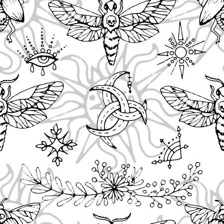 Seamless pattern with mysterious symbols, moth and magic objects on white. Mystic background for Halloween, esoteric, gothic and occult concept