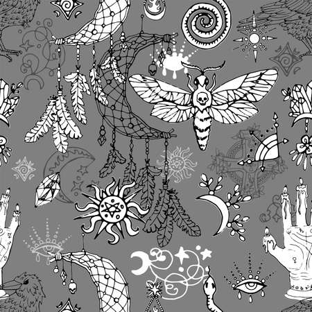 Seamless pattern with dreamcatcher, moth and astrology magic symbols.  Mystic background for Halloween, esoteric, gothic and occult concept Ilustracja