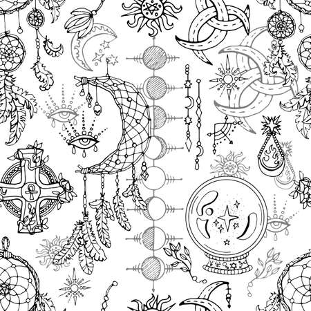 Seamless pattern with magic objects and spiritual design elements - dreamcatcher, crystal, moon phases. Mystic background for Halloween, esoteric, gothic and occult concept