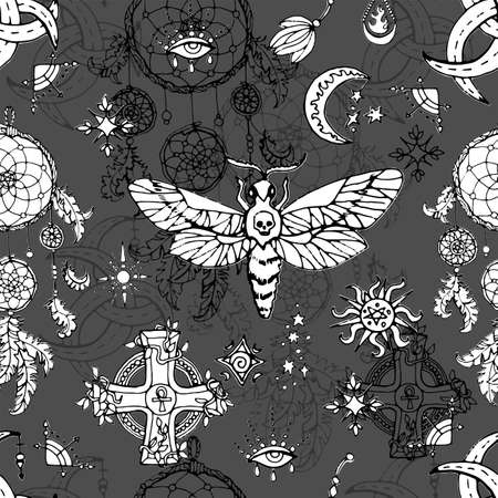 Seamless pattern with moth - symbol of death, cross, moon and mystic magic objects.  Spiritual background for Halloween, esoteric, gothic and occult concept
