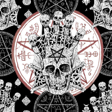 Seamless pattern with evil skull and magic seal with pentagram on black. Mystic background for Halloween, esoteric, gothic and occult concept