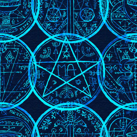 Seamless pattern with magic seal, fantasy symbols and pentagram on blue. Mystic background for Halloween, esoteric, gothic and occult concept