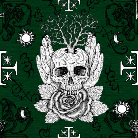Seamless pattern with wiccan emblem, rose, tree and skull in human hands against fantasy crosses. Mystic background for Halloween, esoteric, gothic and occult concept