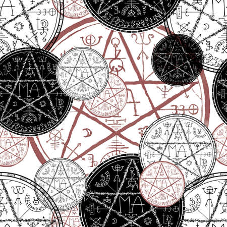 Seamless pattern with black and red magic seals with pentagram on white.  Mystic background for Halloween, esoteric, gothic and occult concept