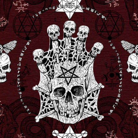 Seamless pattern with evil skull and pentagram on red. No foreign language, all symbols are fantasy ones. Mystic background for Halloween, esoteric, gothic and occult concept