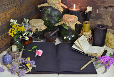 Still life with black pages diary, candles, herbs and jars with plants on witch table. Esoteric, gothic and occult background, Halloween mystic concept.