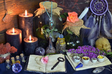 Still life with open diary, flowers, bottles with plants and magic objects on witch table. Esoteric, gothic and occult background, Halloween mystic concept. Zdjęcie Seryjne