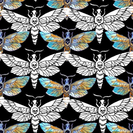 Seamless pattern with graphic and watercolor drawing of moth insect on black. Mystic background with Halloween, esoteric and gothic symbols and hand drawn design elements. 스톡 콘텐츠