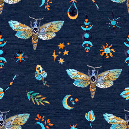 Seamless pattern with moth butterfly and magic elements on blue. Mystic background with Halloween, esoteric and gothic symbols and hand drawn design elements.