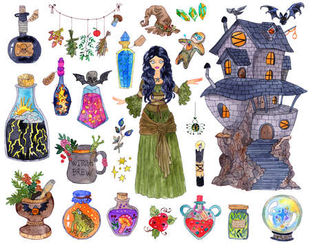 Halloween set with witch girl, spooky house, scary objects and mystic animals. Hand drawn colorful illustration isolated on white, design elements collection