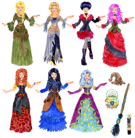 Colorful design set with beautiful witch girl wearing Halloween costumes, gothic dress and medieval princess apparel isolated on white. Hand drawn illustration with objects and clothes to cut out 스톡 콘텐츠