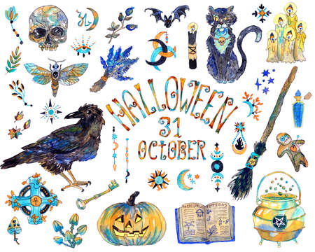 Halloween design set with traditional holiday symbols and witch objects - crow, broom, cat, pumpkin, skull and elements.  Hand drawn colorful illustration isolated on white