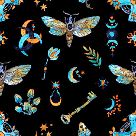 Seamless pattern with moth butterfly and mysterious symbols - key, mushroom, plant on black. Mystic background with Halloween, esoteric and gothic symbols and hand drawn design elements. 스톡 콘텐츠