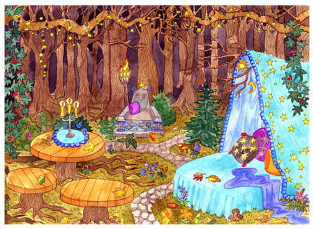 The Witch place. Mystic scene with bed, tables and throne in fable forest with trees and lanterns. Halloween hand drawn colorful background with mystrious landscape, esoteric and gothic concept.