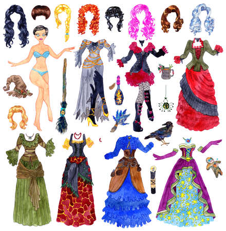 Big colorful set of dress up paper doll with Halloween witch costumes, hair, broom and scary objects isolated on white. Colorful illustration for games with body template, objects and clothes