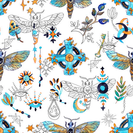 Seamless pattern with moth, plants and mysterions, magic signs on white. Mystic background with Halloween, esoteric and gothic symbols and hand drawn design elements.