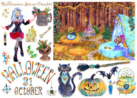 Colorful scene creator with beautiful witch in gothic costume, Halloween landscape background and traditional scary objects isolated on white. Design set of hand drawn illustrations and elements.