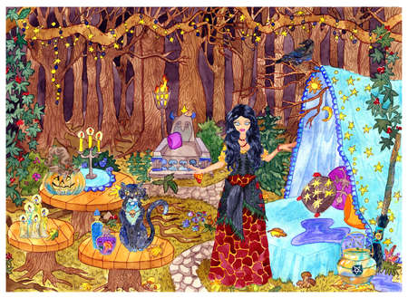 Beautiful witch with cat and traditional Halloween symbols at mystic place in fable forest. Hand drawn colorful illustration of mystrious scenic landscape, esoteric, fantasy and gothic background.