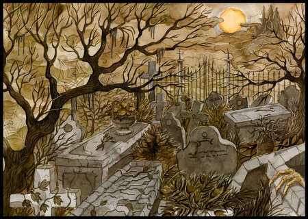 Styled grunge illustration of old abandoned cemetery with scary tombstones, crosses and graves against moon and castle at night.  Halloween painted background, gothic, esoteric and mystic concept.