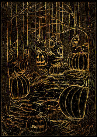 Black and gold textured illustration with path or trailway, scary pumpkin head and lanterns hiding behind the  gloomy trees in dark forest. Halloween background, gothic, esoteric and mystic concept