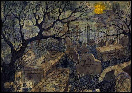 Hand drawn illustration with old abandoned cemetery with scary tombstones, crosses and graves against full moon and castle at night.  Halloween background, gothic, esoteric and mystic concept. Stok Fotoğraf