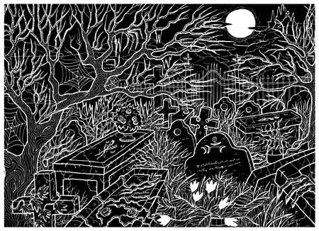 Black vector illustration with line art old abandoned cemetery with scary tombstones, crosses and graves against moon and castle at night.  Halloween background, gothic, esoteric and mystic concept Çizim