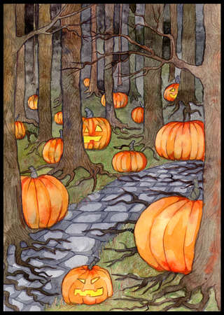 Watercolor illustration with path or trailway, scary pumpkin head and lanterns hiding behind the  gloomy trees in dark forest or woods. Halloween background, gothic, esoteric and mystic concept. 스톡 콘텐츠