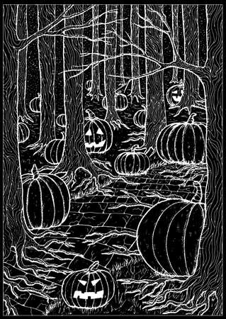 Black vector illustration with path or trailway, scary pumpkin head and lanterns hiding behind the  gloomy trees in dark forest or woods. Halloween background, gothic, esoteric and mystic concept.