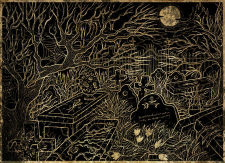 Black and gold illustration of old abandoned cemetery with scary tombstones, crosses and graves against moon and castle at night.  Halloween line art background, gothic, esoteric and mystic concept.
