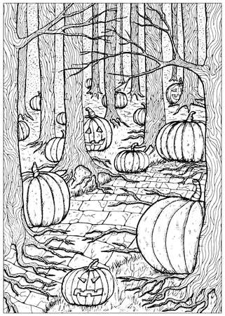 Black and white vector illustration with path or trailway, scary pumpkin head and lanterns hiding behind the  gloomy trees in dark forest or woods. Halloween background, gothic, esoteric and mystic concept. 일러스트