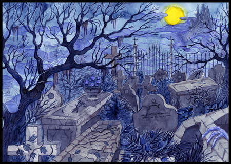 Watercolor painted illustration of old abandoned cemetery with scary tombstones, crosses and graves against moon and castle at night.  Halloween background, gothic, esoteric and mystic concept. Stok Fotoğraf