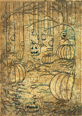 Hand drawn line art illustration with path or trailway, scary pumpkin head and lanterns hiding behind the  gloomy trees in dark forest. Halloween background, gothic, esoteric and mystic concept 스톡 콘텐츠
