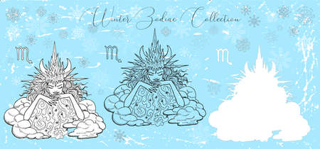 Doodle set with Scorpio zodiac symbol. Girl as winter storm queen against snowy background. Vector hand drawn winter illustration, line art design element, esoteric and mystic background Çizim