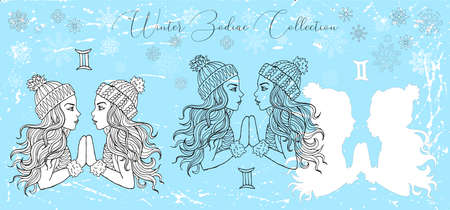 Doodle set with Gemini zodiac symbol. Two beautiful twin girls against snowy background. Vector hand drawn winter illustration, line art design element, esoteric and mystic background