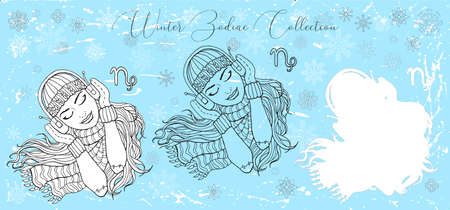 Doodle set with Capricorn zodiac symbol. Girl listening to music in headphones against snowy background. Vector hand drawn winter illustration, line art design element, esoteric and mystic background Çizim
