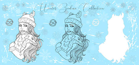 Doodle set with Cancer zodiac symbol. Girl holding cute fox against snowy background. Vector hand drawn winter illustration, line art design element, esoteric and mystic background