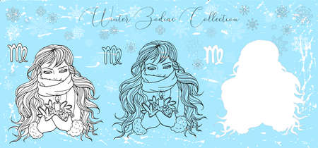 Doodle set with Virgo zodiac symbol. Girl holding candle and conifer against snowy background. Vector hand drawn winter illustration, line art design element, esoteric and mystic background Çizim